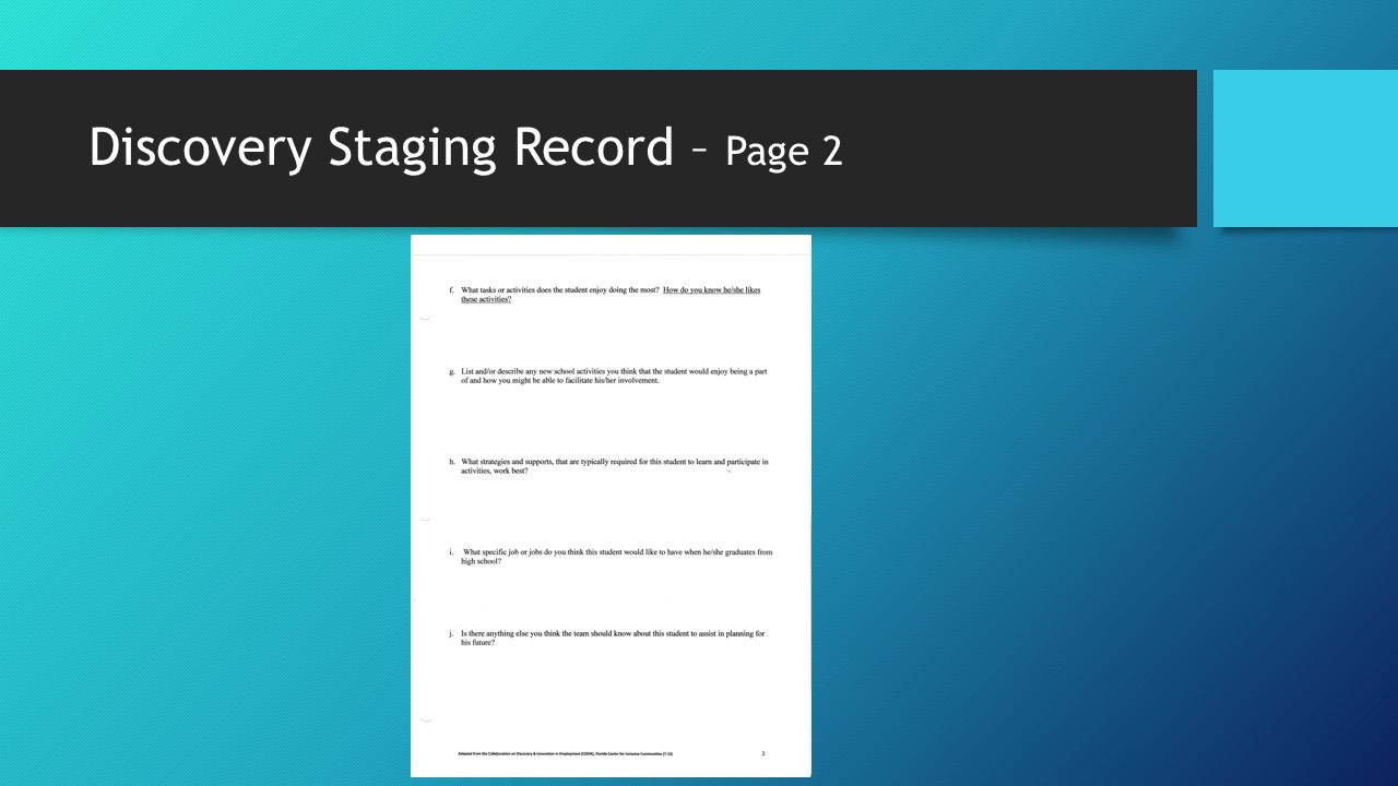 Discovery Staging Record – Page 2