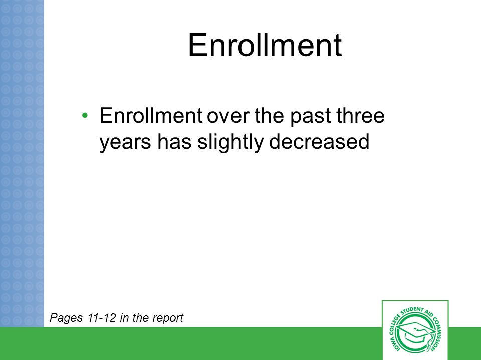 Enrollment Enrollment over the past three years has slightly decreased Pages 11-12 in the report