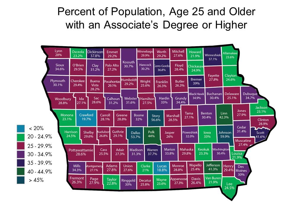 Percent of Population, Age 25 and Older with an Associate's Degree or Higher