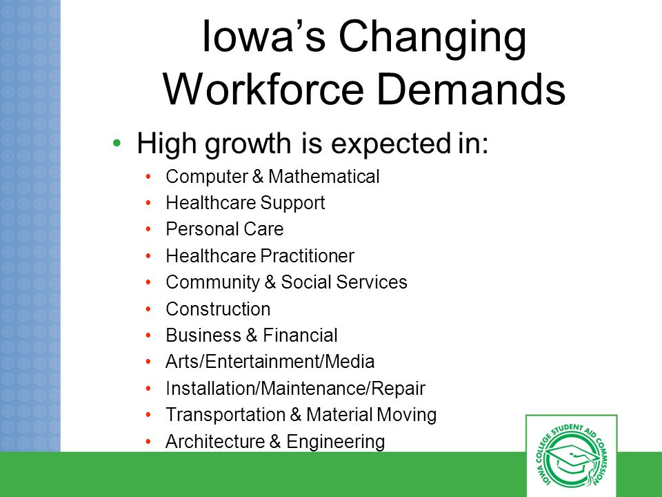 Iowa's Changing Workforce Demands High growth is expected in: Computer & Mathematical Healthcare Support Personal Care Healthcare Practitioner Community & Social Services Construction Business & Financial Arts/Entertainment/Media Installation/Maintenance/Repair Transportation & Material Moving Architecture & Engineering