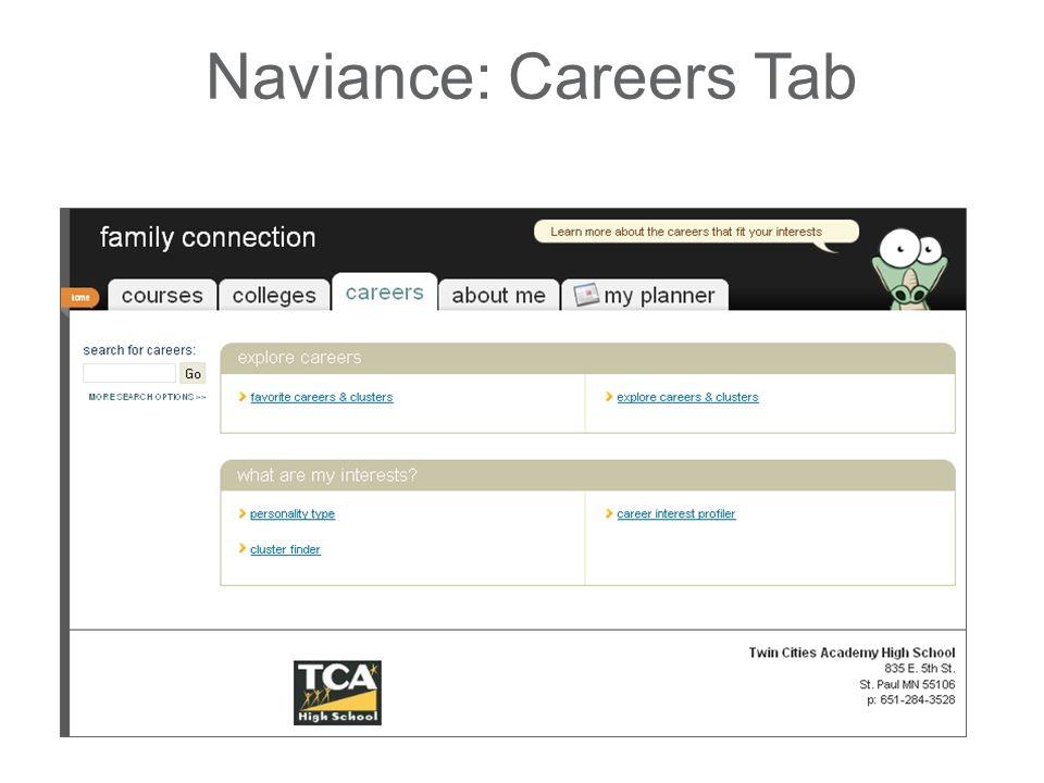 Naviance: Careers Tab