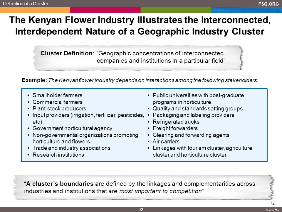 FSG.ORG 12 © 2012 FSG 12 © 2012 FSG The Kenyan Flower Industry Illustrates the Interconnected, Interdependent Nature of a Geographic Industry Cluster