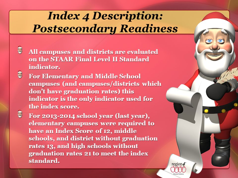 Index 4 Description: Postsecondary Readiness All campuses and districts are evaluated on the STAAR Final Level II Standard indicator.