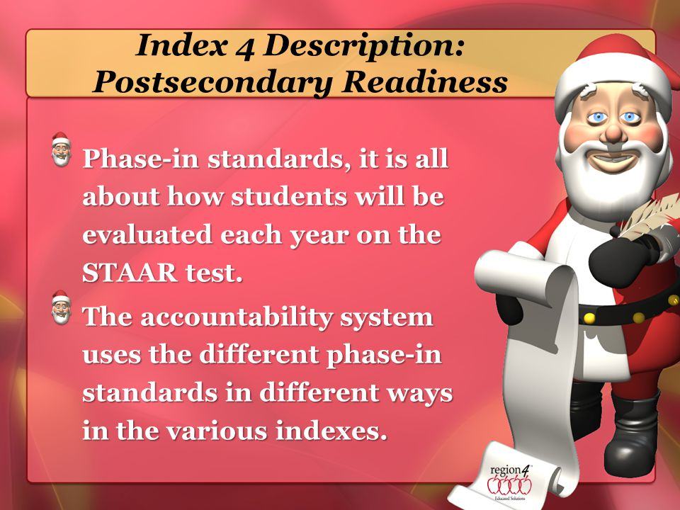 Index 4 Description: Postsecondary Readiness Phase-in standards, it is all about how students will be evaluated each year on the STAAR test.