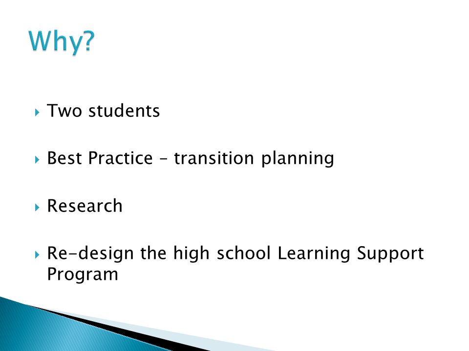  Two students  Best Practice – transition planning  Research  Re-design the high school Learning Support Program