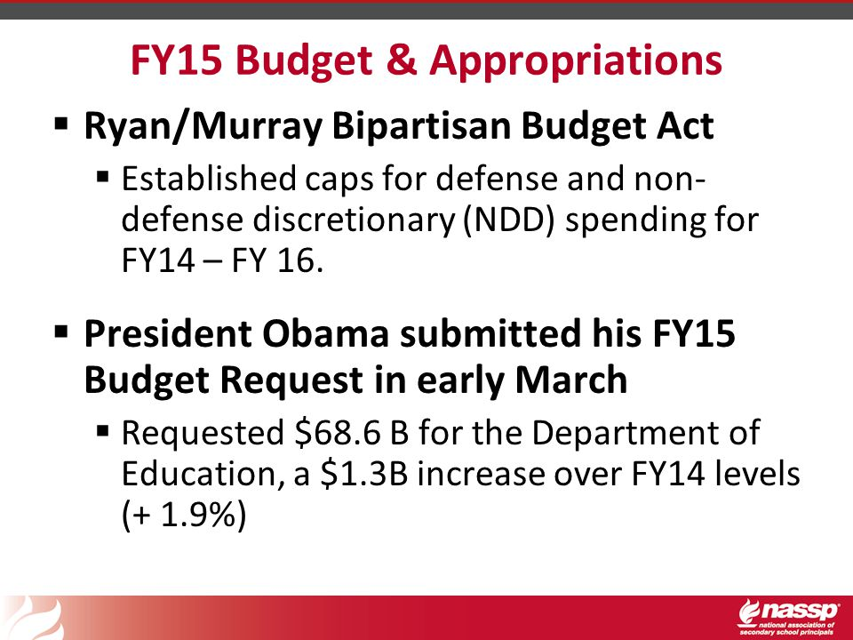 FY15 Budget & Appropriations  Ryan/Murray Bipartisan Budget Act  Established caps for defense and non- defense discretionary (NDD) spending for FY14 – FY 16.
