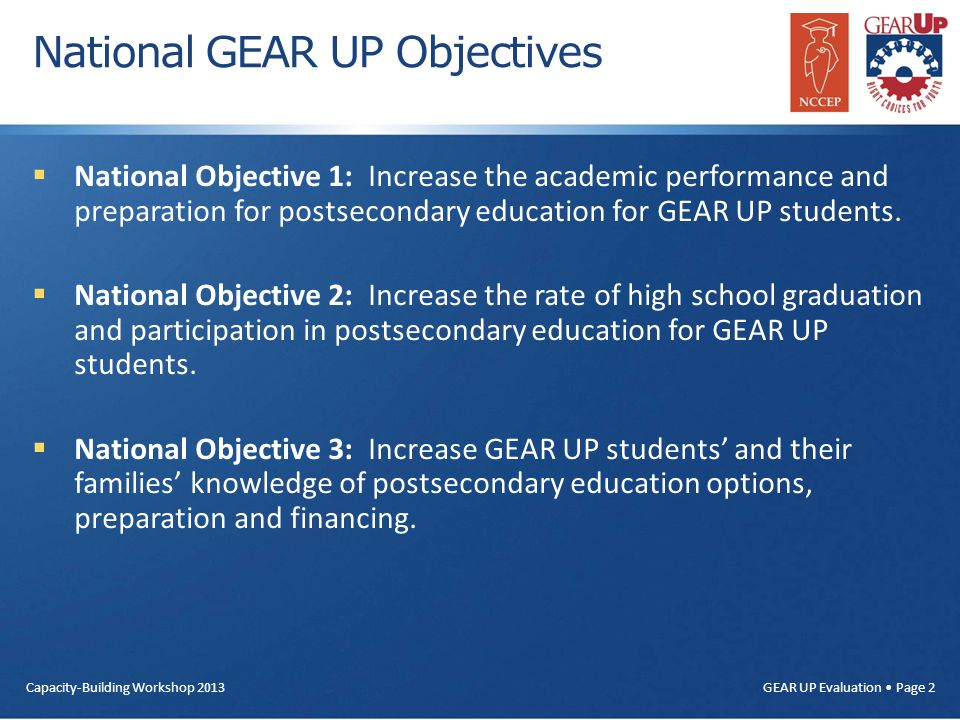 GEAR UP Evaluation Page 2 National GEAR UP Objectives  National Objective 1: Increase the academic performance and preparation for postsecondary educ
