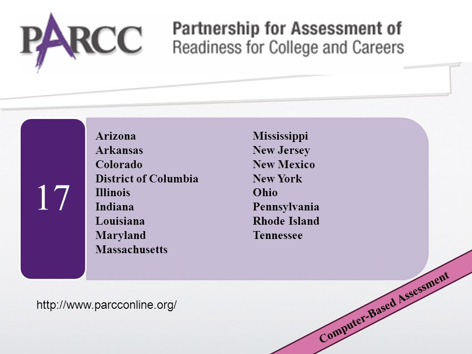 17 Computer-Based Assessment http://www.parcconline.org/ Arizona Arkansas Colorado District of Columbia Illinois Indiana Louisiana Maryland Massachusetts Mississippi New Jersey New Mexico New York Ohio Pennsylvania Rhode Island Tennessee