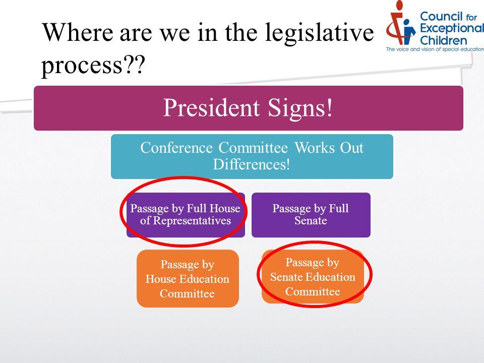Where are we in the legislative process .