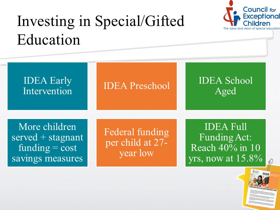 Investing in Special/Gifted Education IDEA Early Intervention IDEA Preschool IDEA School Aged More children served + stagnant funding = cost savings measures Federal funding per child at 27- year low IDEA Full Funding Act: Reach 40% in 10 yrs, now at 15.8%