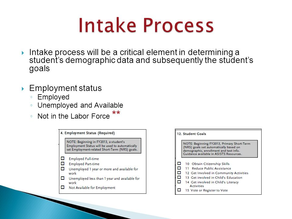  Intake process will be a critical element in determining a student's demographic data and subsequently the student's goals  Employment status ◦ Employed ◦ Unemployed and Available ◦ Not in the Labor Force **