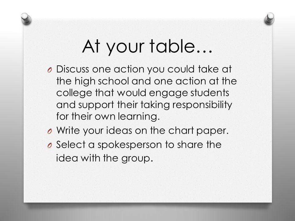 At your table… O Discuss one action you could take at the high school and one action at the college that would engage students and support their takin