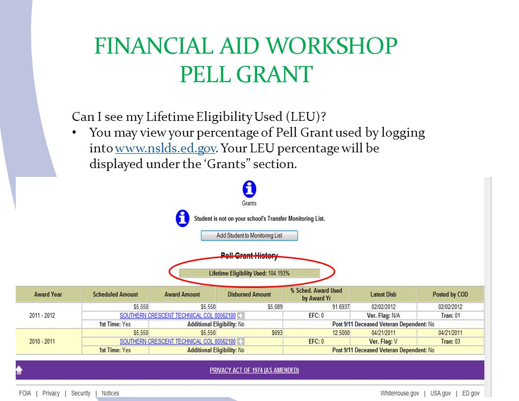 FINANCIAL AID WORKSHOP PELL GRANT Can I see my Lifetime Eligibility Used (LEU)? You may view your percentage of Pell Grant used by logging into www.ns
