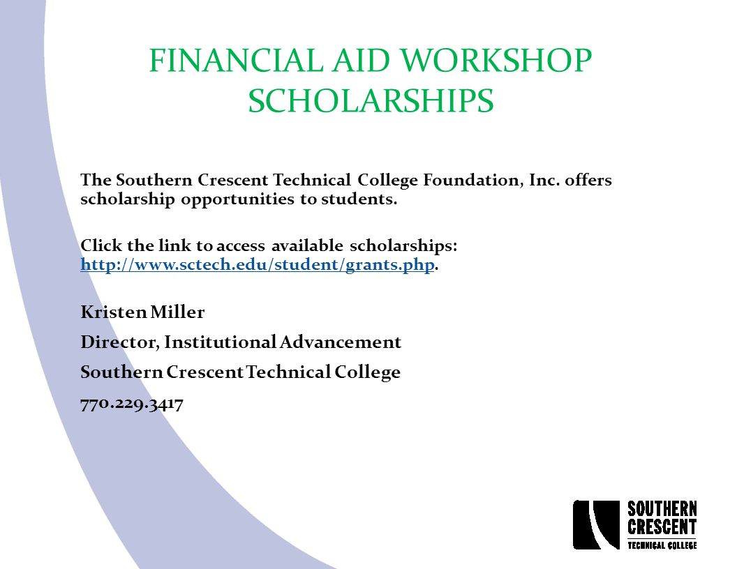 The Southern Crescent Technical College Foundation, Inc. offers scholarship opportunities to students. Click the link to access available scholarships