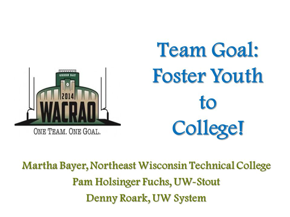 Team Goal: Foster Youth to College.