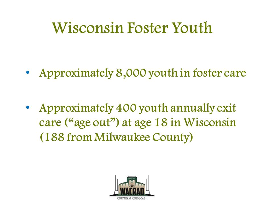 Wisconsin Foster Youth Approximately 8,000 youth in foster care Approximately 400 youth annually exit care ( age out ) at age 18 in Wisconsin (188 from Milwaukee County)
