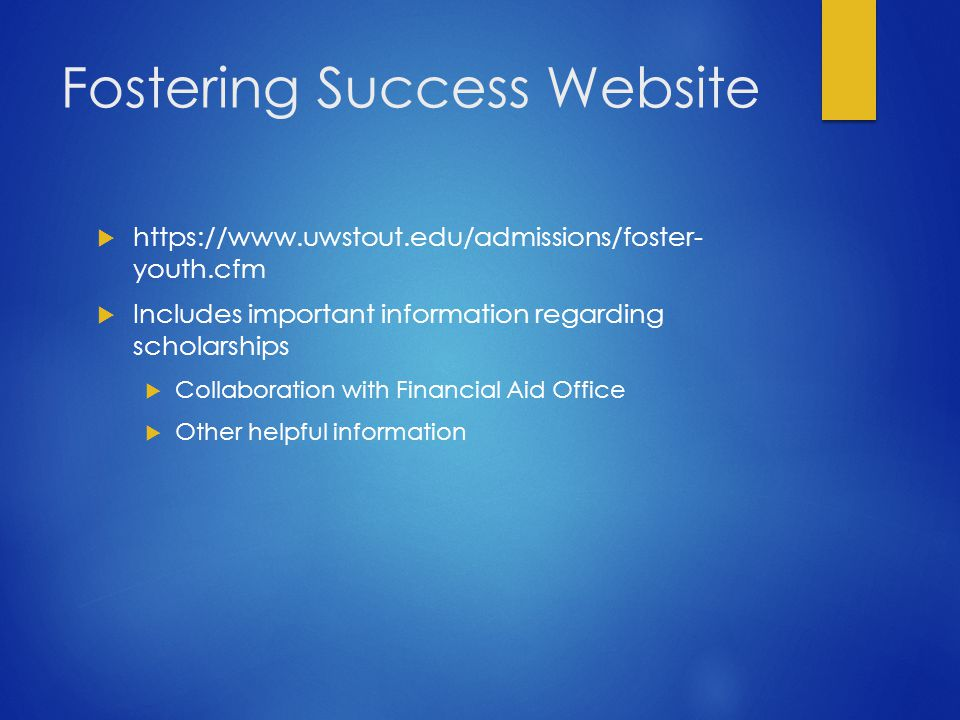 Fostering Success Website  https://www.uwstout.edu/admissions/foster- youth.cfm  Includes important information regarding scholarships  Collaboration with Financial Aid Office  Other helpful information