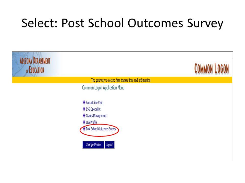 Select: Post School Outcomes Survey