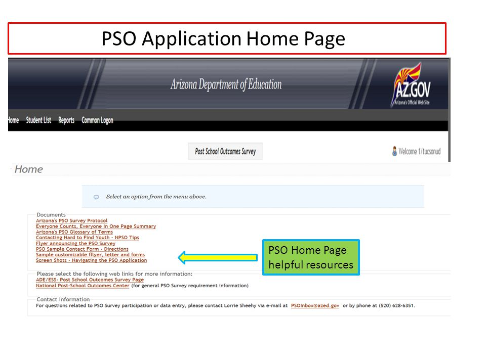 PSO Application Home Page PSO Home Page helpful resources