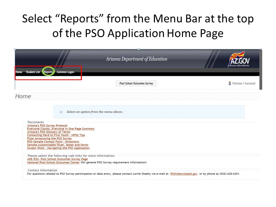 """Select """"Reports"""" from the Menu Bar at the top of the PSO Application Home Page"""
