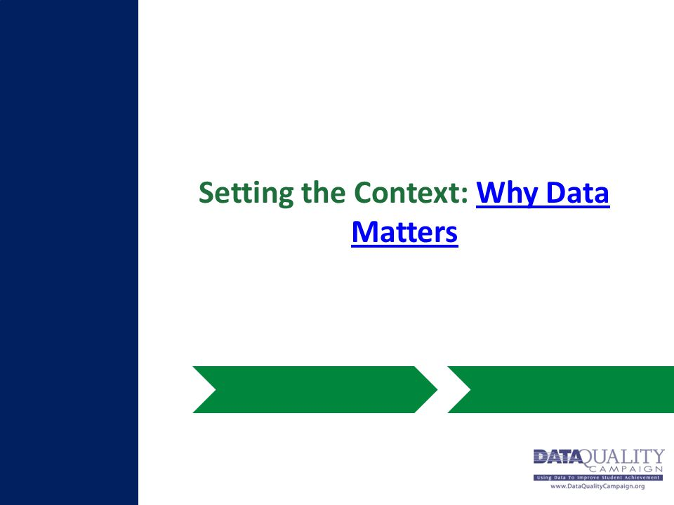 Setting the Context: Why Data MattersWhy Data Matters