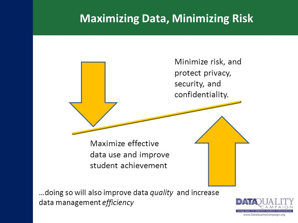 Maximizing Data, Minimizing Risk Minimize risk, and protect privacy, security, and confidentiality. Maximize effective data use and improve student ac