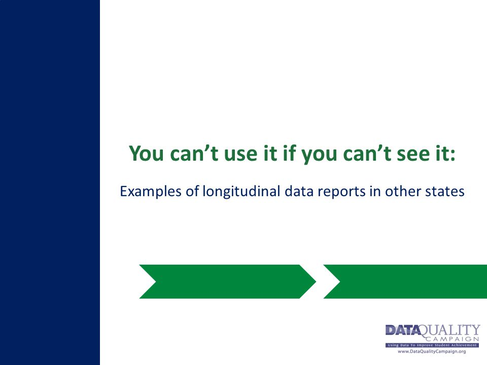 You can't use it if you can't see it: Examples of longitudinal data reports in other states