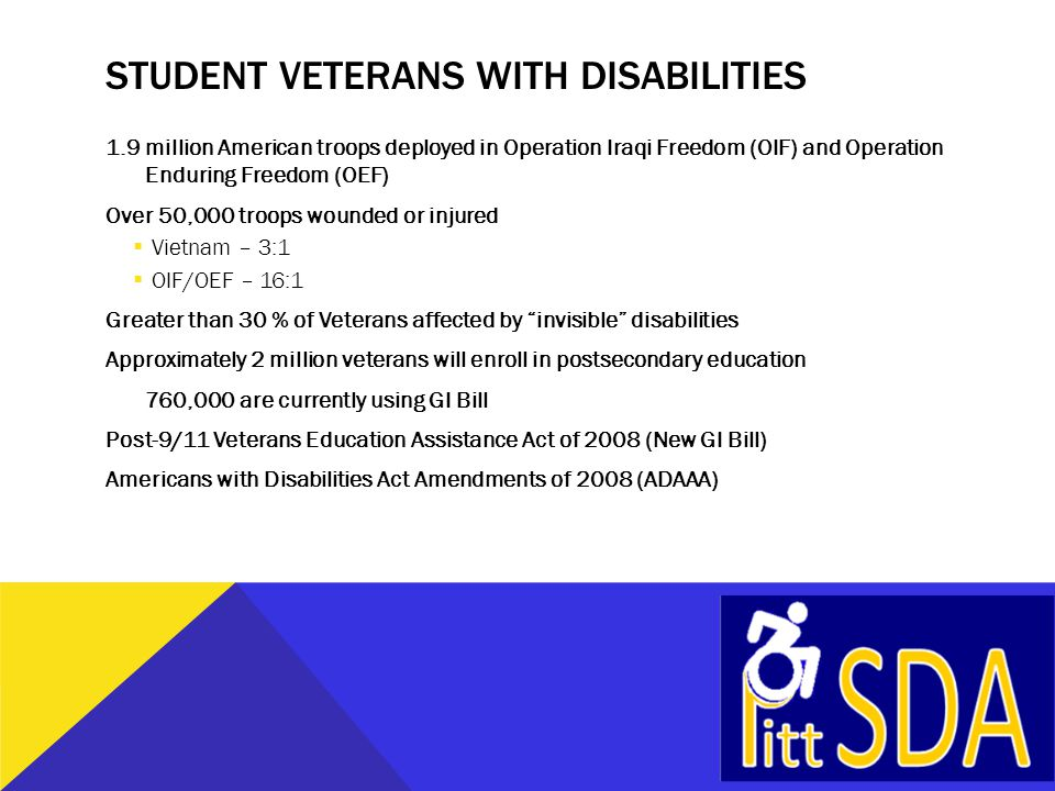 STUDENT VETERANS WITH DISABILITIES 1.9 million American troops deployed in Operation Iraqi Freedom (OIF) and Operation Enduring Freedom (OEF) Over 50,