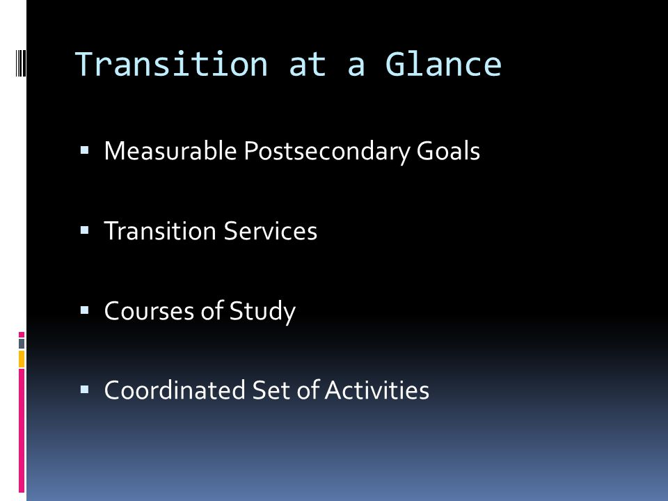 Transition at a Glance  Measurable Postsecondary Goals  Transition Services  Courses of Study  Coordinated Set of Activities