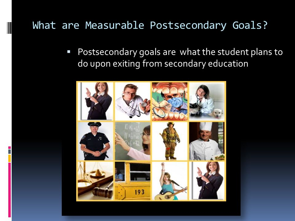 Writing Goals  Writing goals that meet the student's needs are critical to the process S pecific Measurable Achievable Realistic Time Scheduled