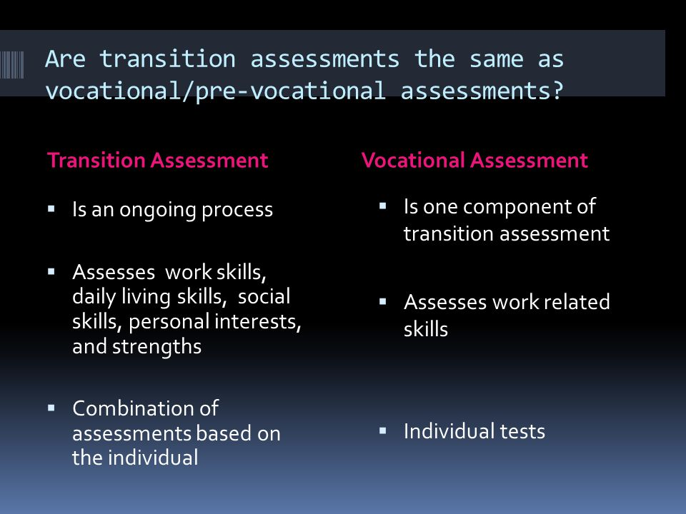 Examples of Transition Assessments  Student Interview  Parent Interview  Cum Review  Learning Styles Inventory  Work habits data sheet  Interest Inventories  Independent Living Skills Inventory  Situational Assessments
