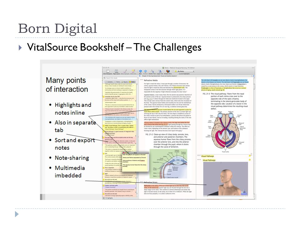 Born Digital  VitalSource Bookshelf – The Challenges