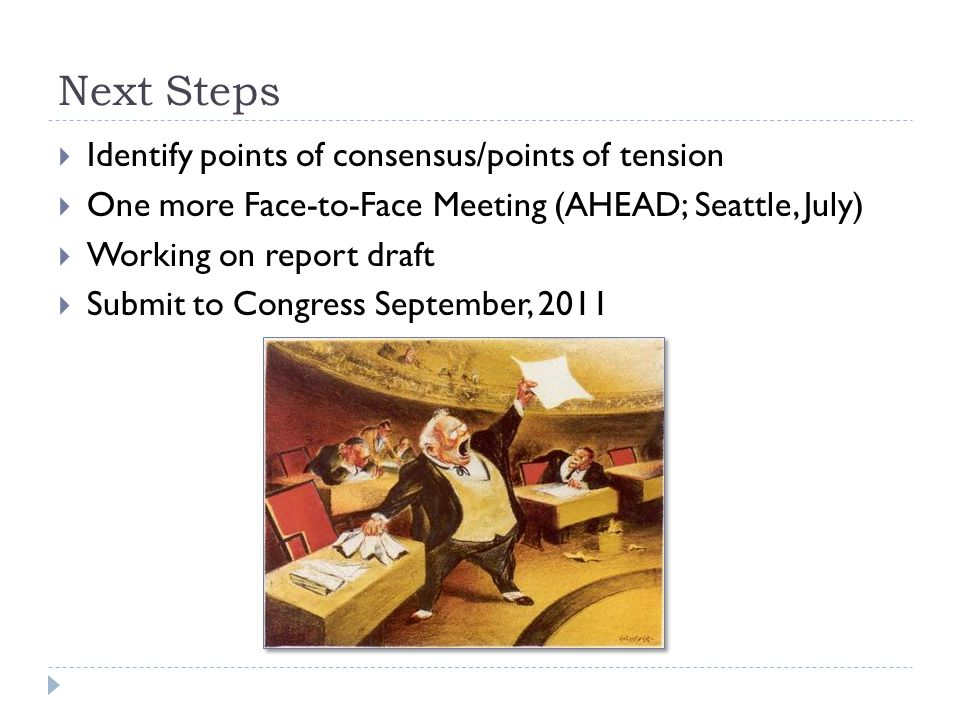 Next Steps  Identify points of consensus/points of tension  One more Face-to-Face Meeting (AHEAD; Seattle, July)  Working on report draft  Submit to Congress September, 2011