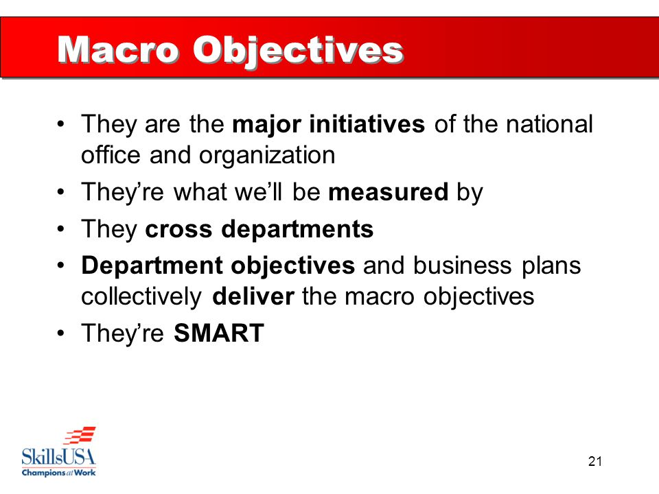 21 Macro Objectives They are the major initiatives of the national office and organization They're what we'll be measured by They cross departments De