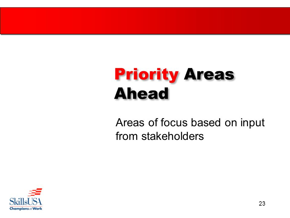 23 Priority Areas Ahead Areas of focus based on input from stakeholders