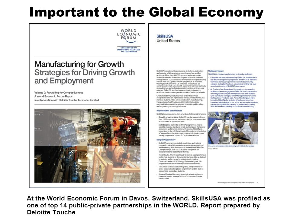 Important to the Global Economy At the World Economic Forum in Davos, Switzerland, SkillsUSA was profiled as one of top 14 public-private partnerships