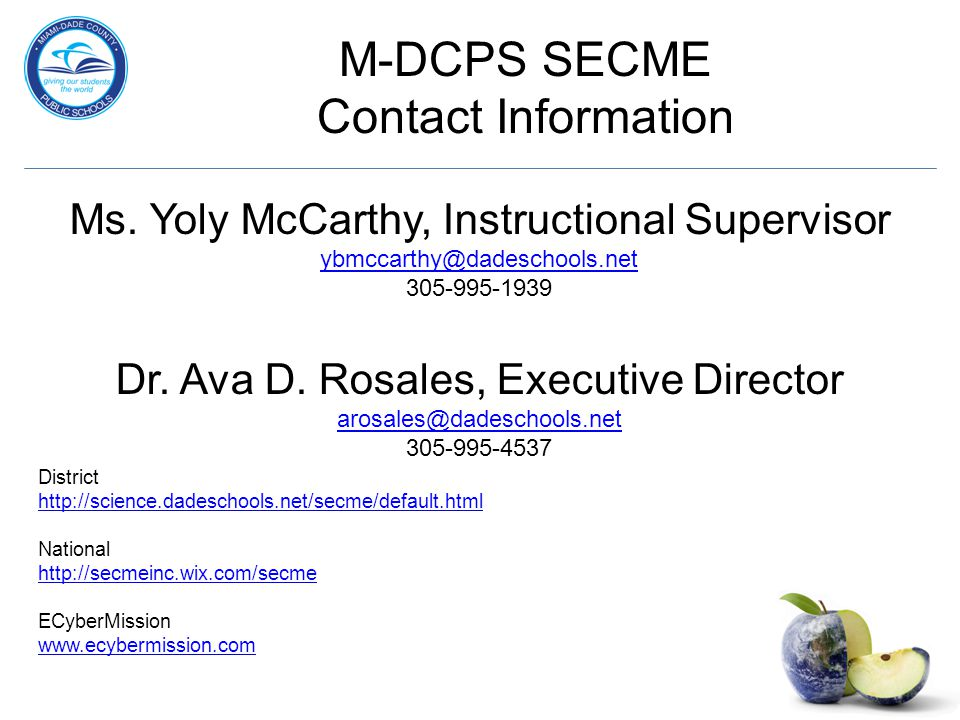 M-DCPS SECME Contact Information Ms.