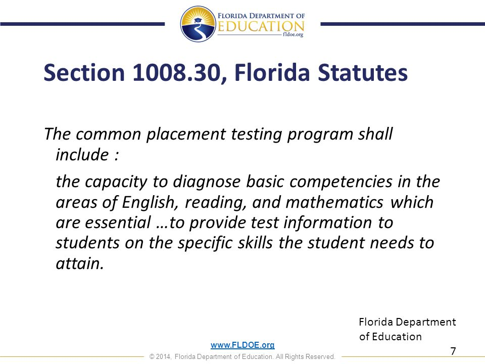 www.FLDOE.org © 2014, Florida Department of Education. All Rights Reserved. www.FLDOE.org 18