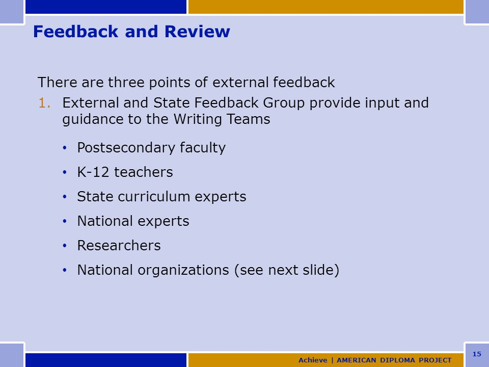 15 Feedback and Review There are three points of external feedback 1.External and State Feedback Group provide input and guidance to the Writing Teams Postsecondary faculty K-12 teachers State curriculum experts National experts Researchers National organizations (see next slide) Achieve | AMERICAN DIPLOMA PROJECT