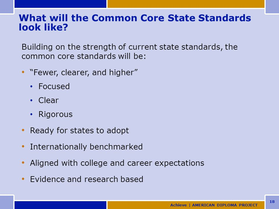 18 What will the Common Core State Standards look like.