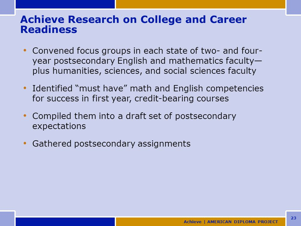 23 Achieve Research on College and Career Readiness Convened focus groups in each state of two- and four- year postsecondary English and mathematics faculty— plus humanities, sciences, and social sciences faculty Identified must have math and English competencies for success in first year, credit-bearing courses Compiled them into a draft set of postsecondary expectations Gathered postsecondary assignments Achieve | AMERICAN DIPLOMA PROJECT