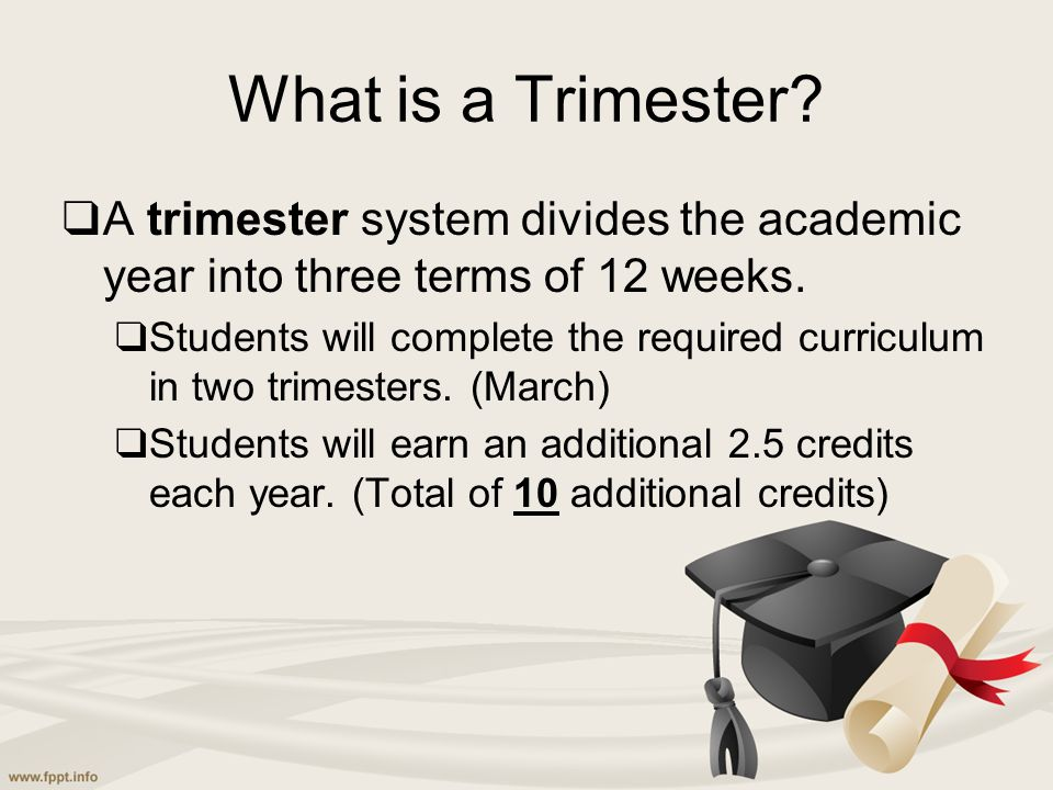 What is a Trimester? ❑ A trimester system divides the academic year into three terms of 12 weeks. ❑ Students will complete the required curriculum in
