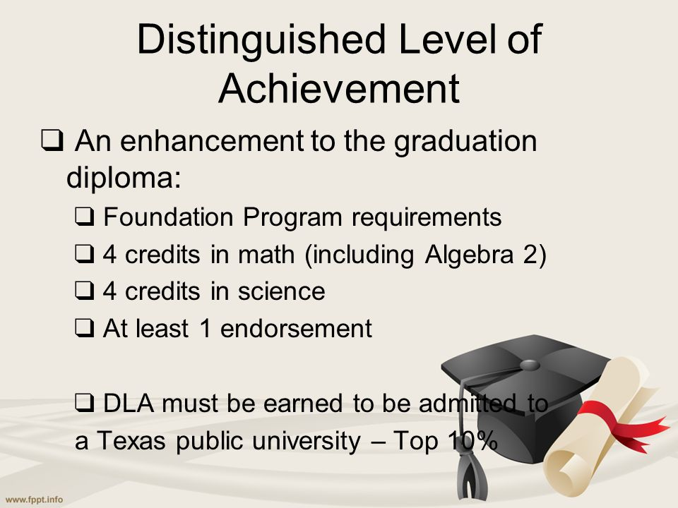 Distinguished Level of Achievement ❑ An enhancement to the graduation diploma: ❑ Foundation Program requirements ❑ 4 credits in math (including Algebr