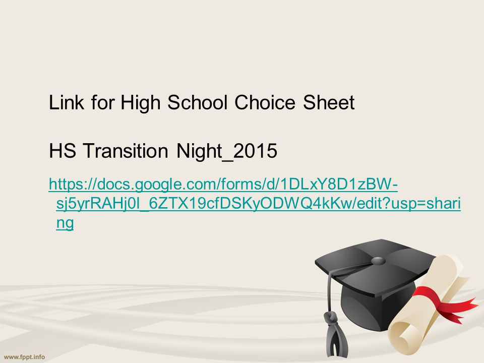 Link for High School Choice Sheet HS Transition Night_2015 https://docs.google.com/forms/d/1DLxY8D1zBW- sj5yrRAHj0l_6ZTX19cfDSKyODWQ4kKw/edit?usp=shar