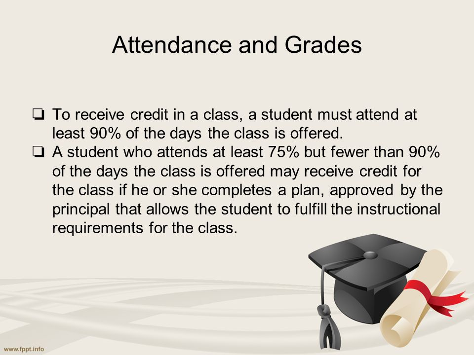 Attendance and Grades ❏ To receive credit in a class, a student must attend at least 90% of the days the class is offered. ❏ A student who attends at