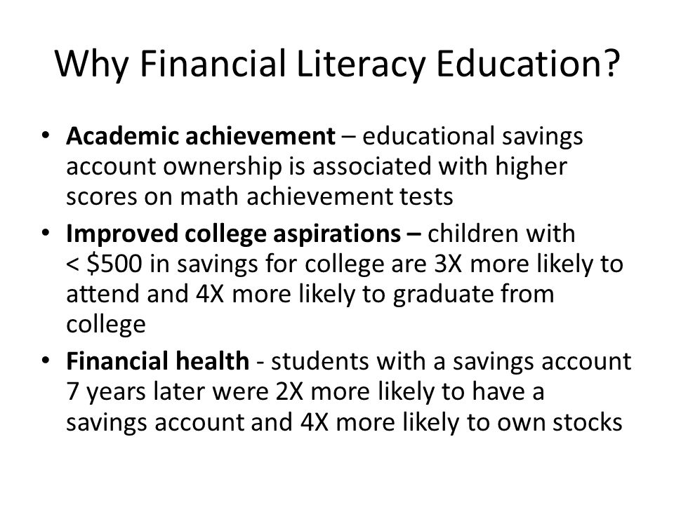Why Financial Literacy Education.