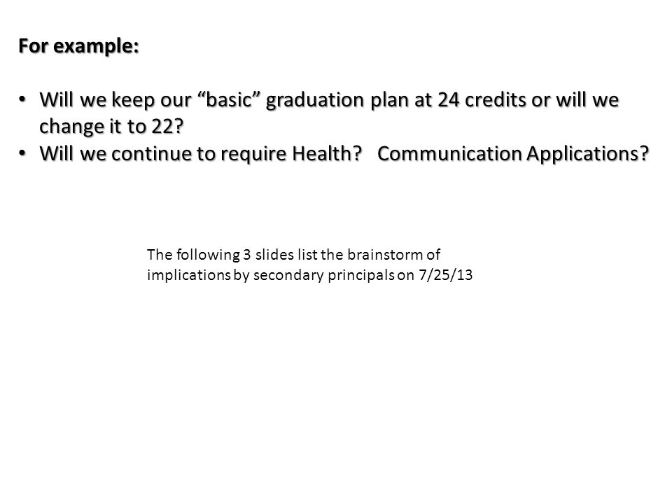 For example: Will we keep our basic graduation plan at 24 credits or will we change it to 22.