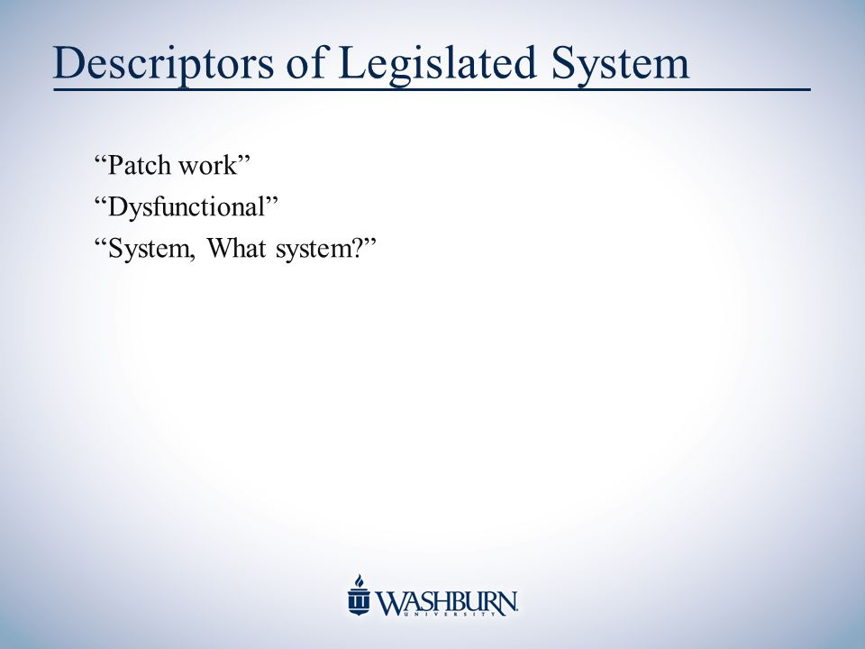 Descriptors of Legislated System Patch work Dysfunctional System, What system