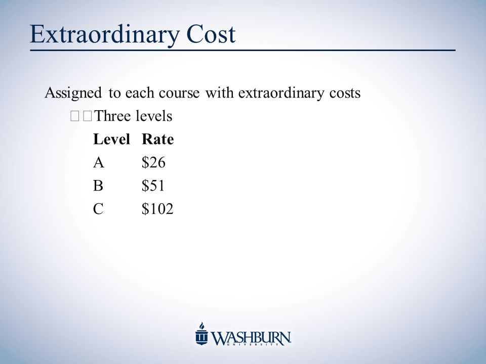 Extraordinary Cost Assigned to each course with extraordinary costs Three levels LevelRate A$26 B$51 C$102