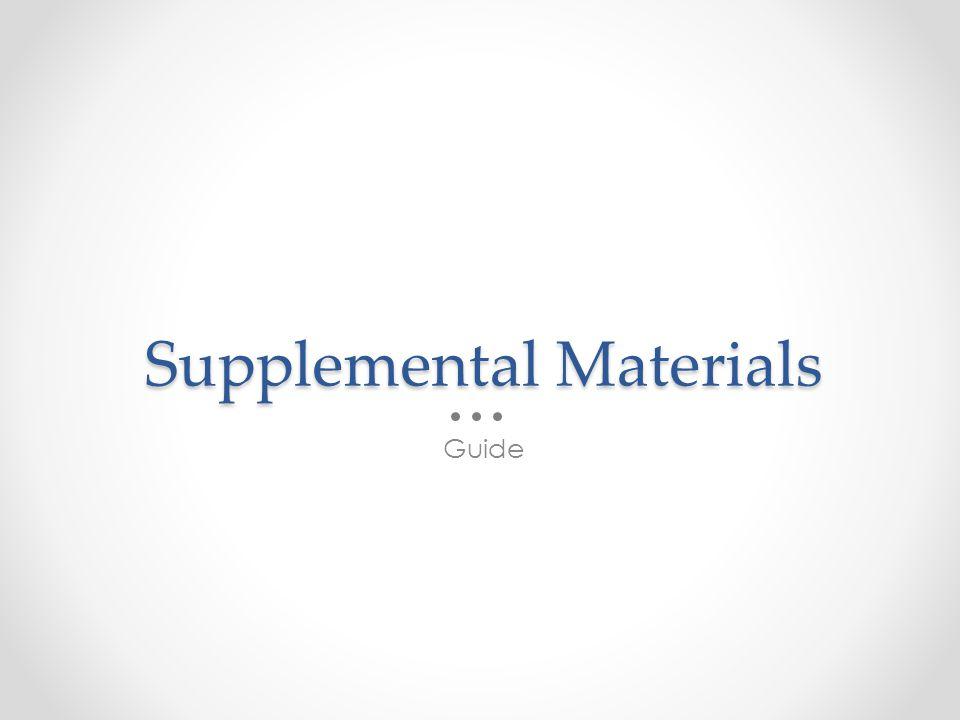 Supplemental Materials Guide